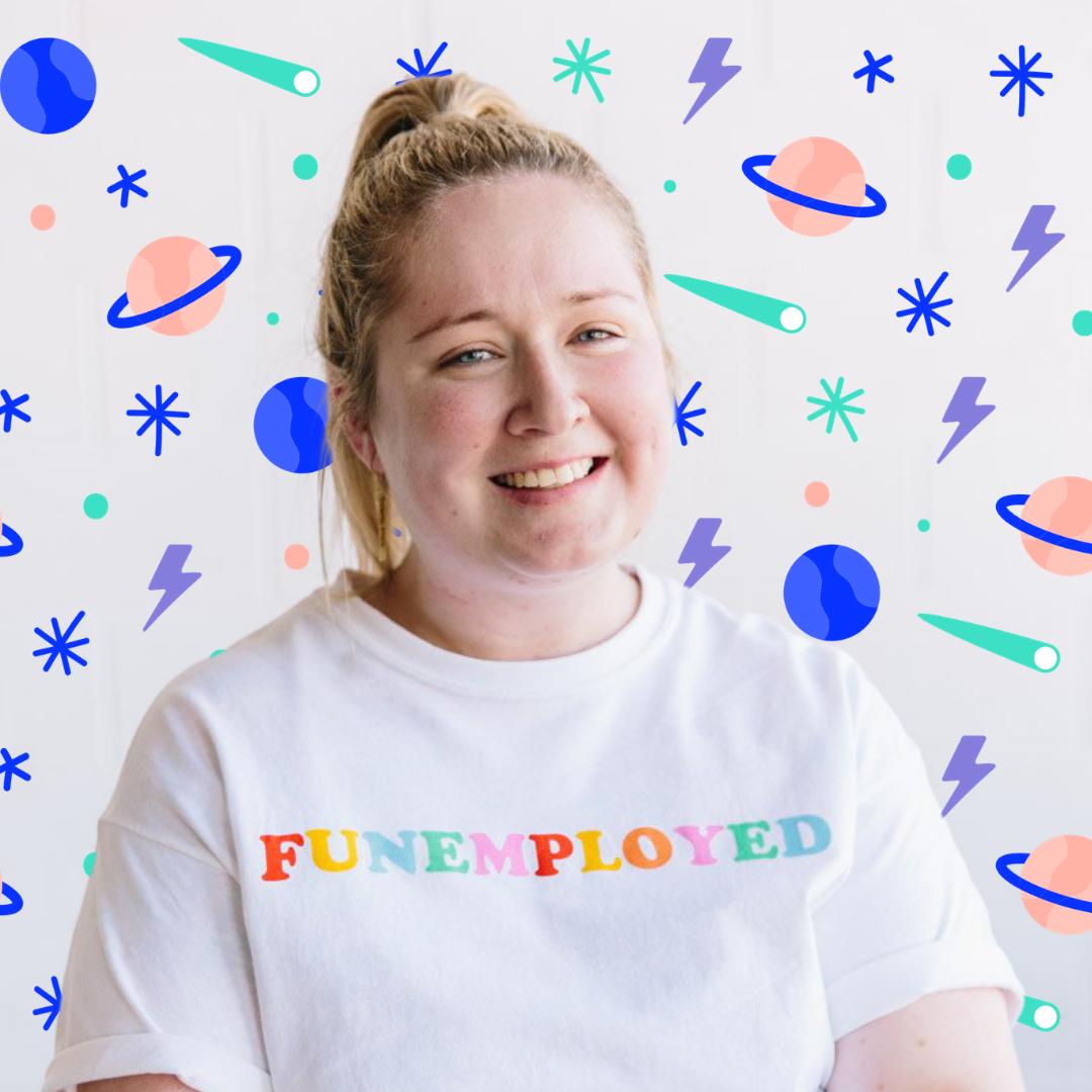 Ali smiling wearing funemployed t-shirt